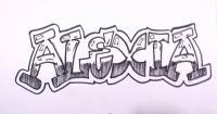 имя Alexia карандашом на бумаге