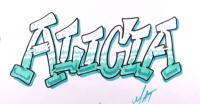Фото имя Alicia в стиле граффити карандашом