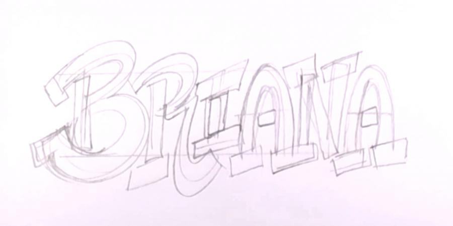 Рисовать поэтапно карандашом граффити с именами 175