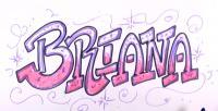 имя Briana в стиле граффити карандашом