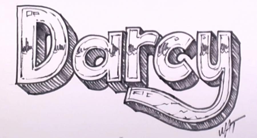 Рисуем имя Darcy на бумаге
