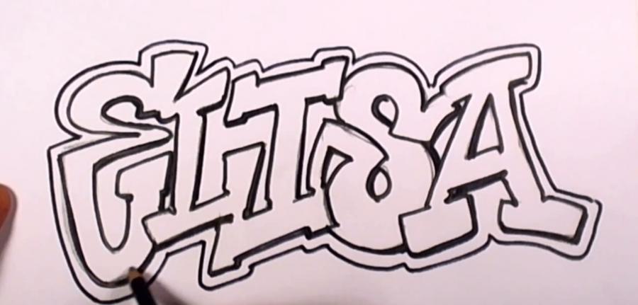 Рисуем имя Elisa   на бумаге
