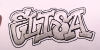 имя Elisa карандашом  на бумаге