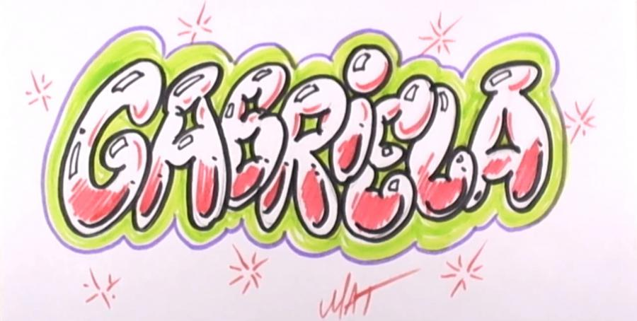 Как нарисовать имя Gabriela на бумаге карандашом поэтапно