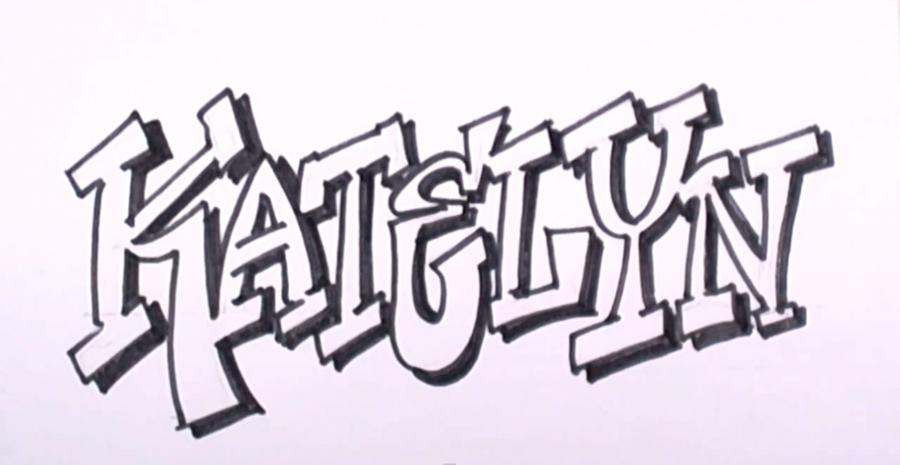Рисовать поэтапно карандашом граффити с именами 103