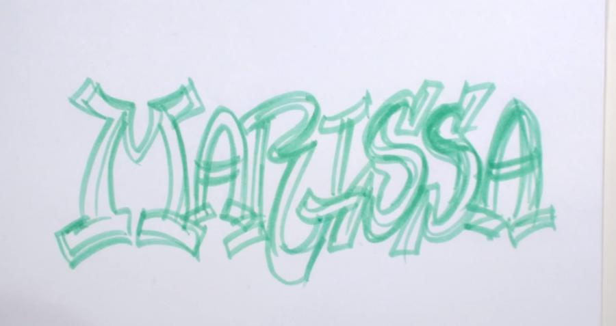 Рисуем имя Marissa в стиле граффити - шаг 2