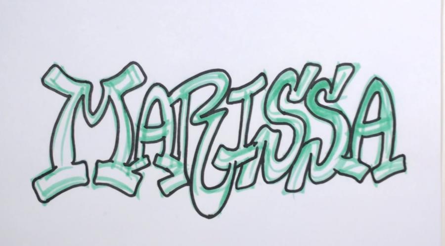 Рисуем имя Marissa в стиле граффити - шаг 3
