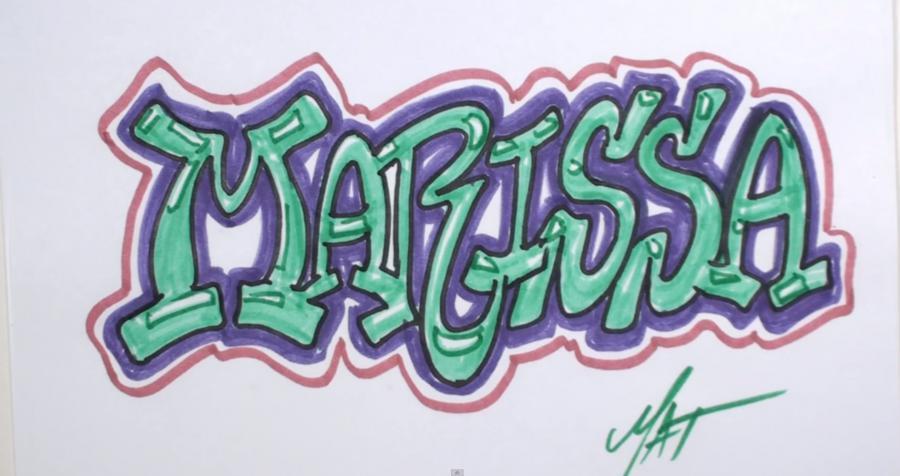 Как нарисовать имя Marissa в стиле граффити поэтапно