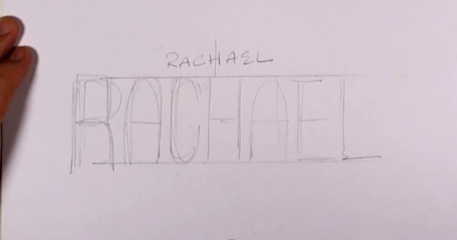 Рисуем имя Rachel на бумаге шаг за шагом