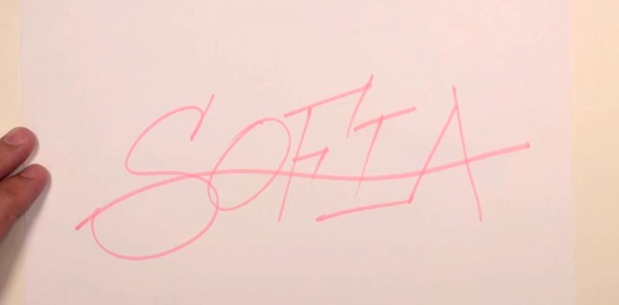 Рисуем имя Sofia в стиле граффити карандашами или фломастерами - шаг 1