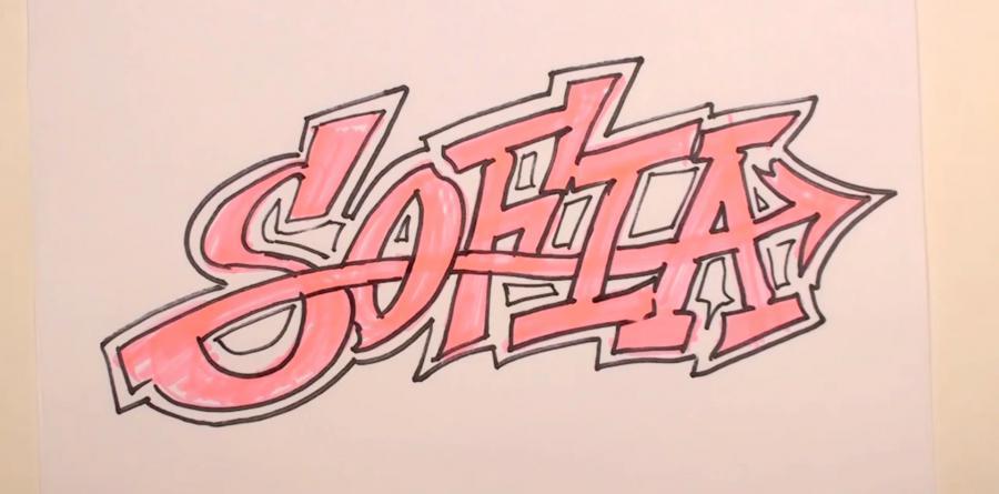 Рисуем имя Sofia в стиле граффити карандашами или фломастерами - шаг 4