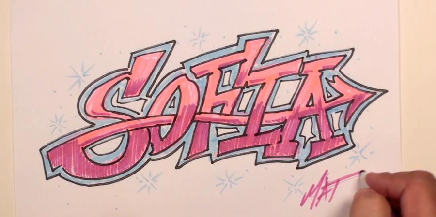 Как нарисовать имя Sofia в стиле граффити карандашами или фломастерами поэтапно