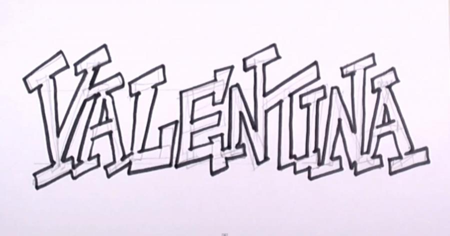 Рисуем имя Valentina  на бумаге
