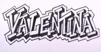 имя Valentina карандашом на бумаге