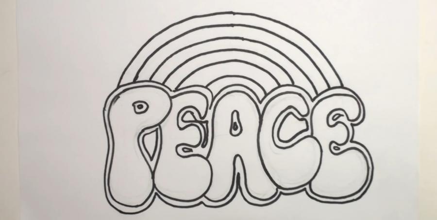 Рисуем  слово PEACE шаг за шагом