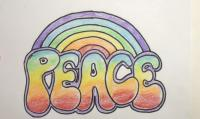 карандашом слово PEACE шаг за шагом