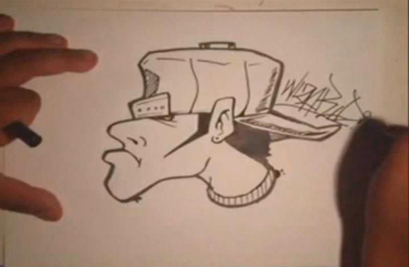 Как нарисовать лицо в профиль в стиле граффити поэтапно