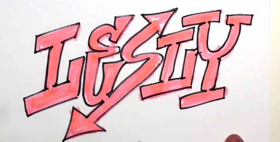 Как нарисовать простым карандашом на бумаге имя Lesly