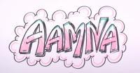 Фото слово Aamna на бумаге карандашом