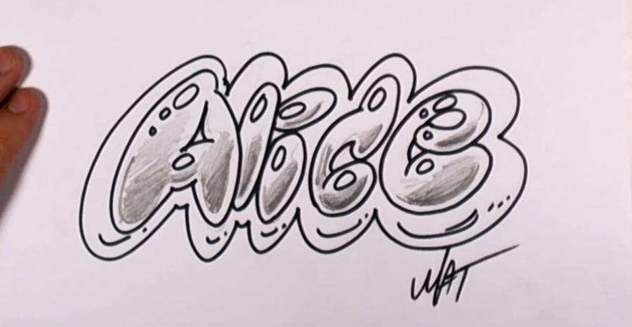 Как нарисовать слово Alice на бумаге карандашом поэтапно