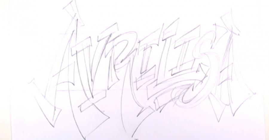 Как нарисовать слово Avrilisa карандашом поэтапно