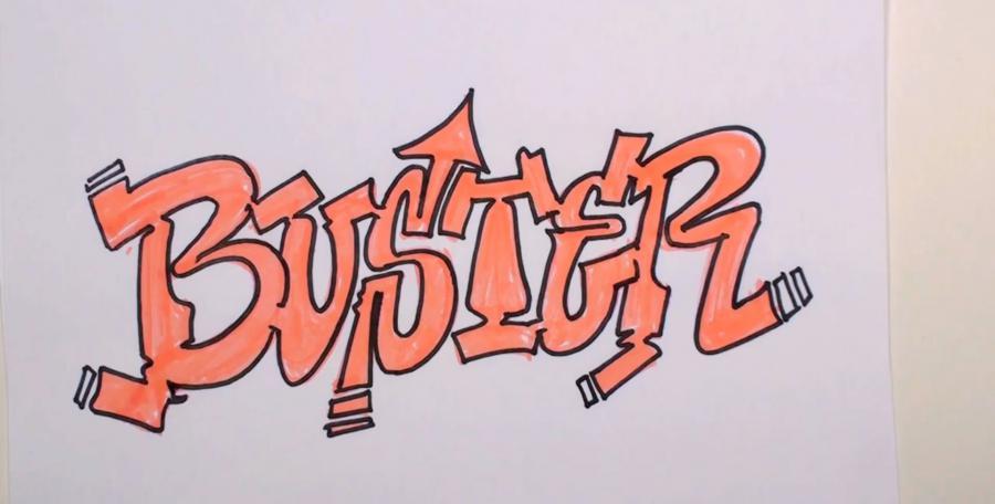 Рисуем слово Buster  или фломастером