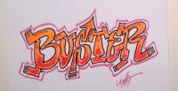 слово Buster карандашом или фломастером