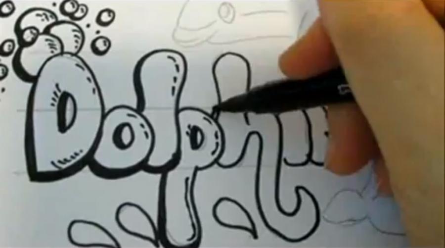 Как нарисовать слово Dolphin карандашом поэтапно