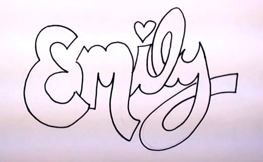 Emily на бумаге карандашом поэтапно