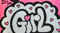 Фото слово Girl на бумаге карандашом