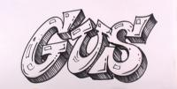 слово Gus на бумаге карандашом