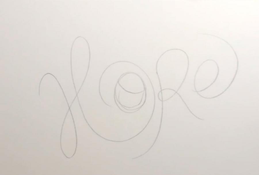 Слово hope карандашом поэтапно