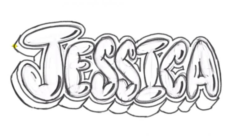 Как нарисовать слово Jessica карандашом поэтапно