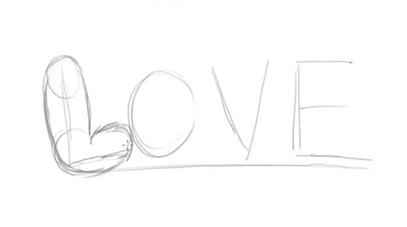 Рисуем надпись Love - шаг 2