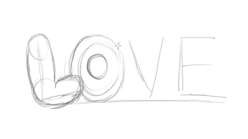 Рисуем надпись Love - шаг 3
