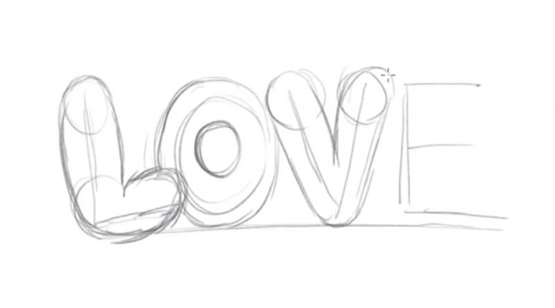 Рисуем надпись Love - шаг 4