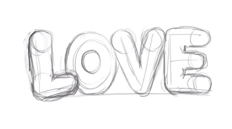 Рисуем надпись Love - шаг 6