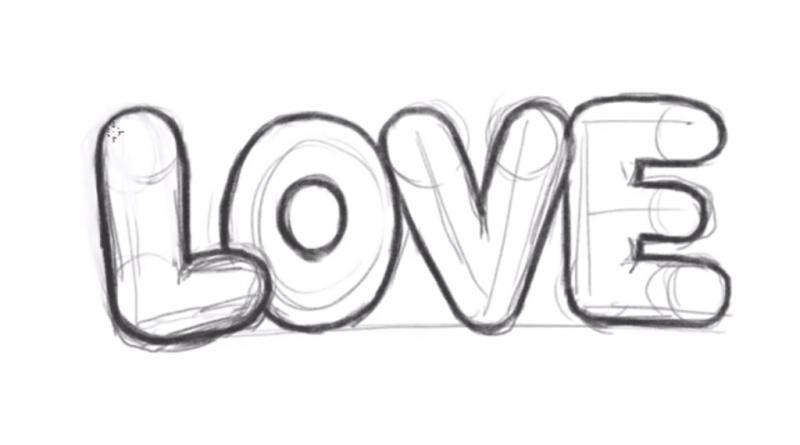 Как нарисовать слово Love карандашом поэтапно