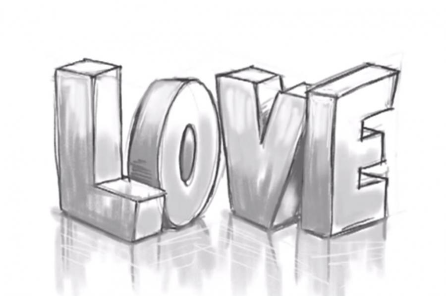 Рисуем слово Love в 3д - шаг 10