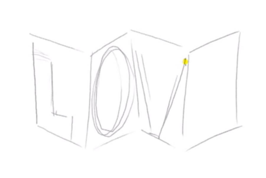 Рисуем слово Love в 3д - шаг 2