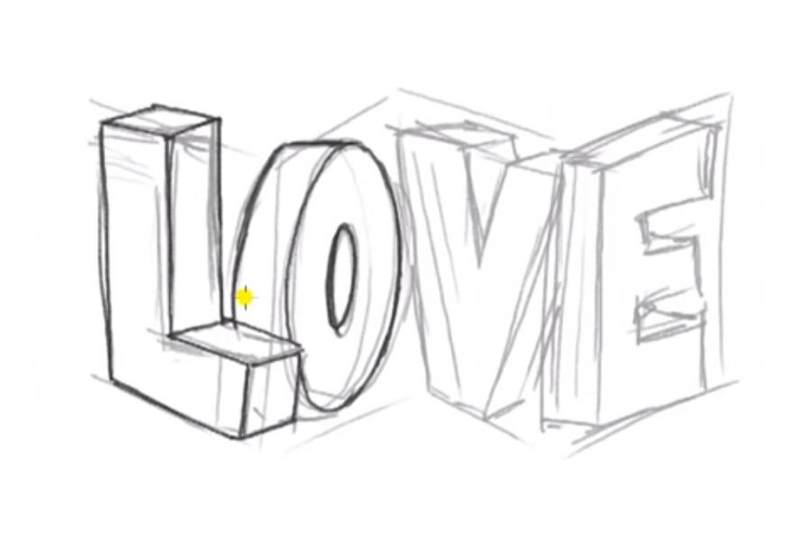 Как нарисовать слово Love в 3д карандашом поэтапно