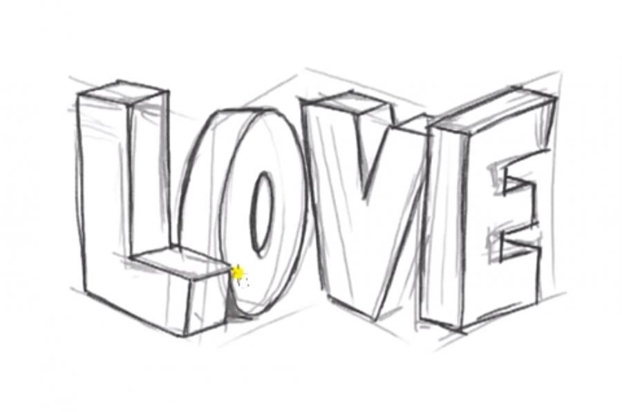 Рисуем слово Love в 3д - шаг 6