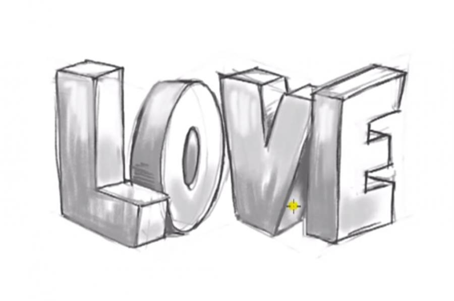Рисуем слово Love в 3д - шаг 8
