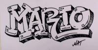 Как нарисовать слово Mario в стиле граффити карандашом поэтапно