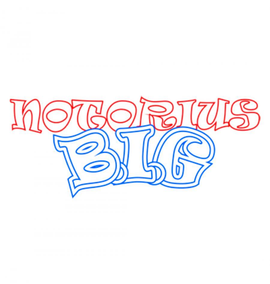 Рисуем слово Notorious B.I.G.  на бумаге