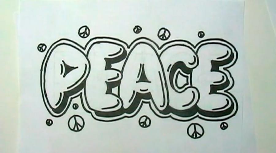 Как нарисовать слово Peace на бумаге карандашом поэтапно