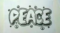 Фото слово Peace на бумаге карандашом