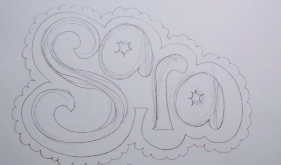 Как нарисовать слово Sara на бумаге карандашом поэтапно