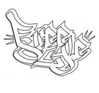 слово freestyle в стиле граффити карандашом
