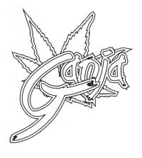 Фото слово ganja на бумаге карандашом